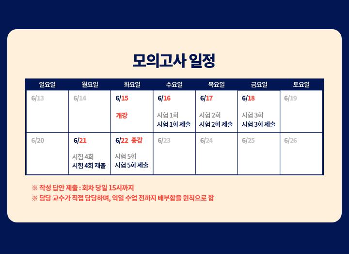 5급공채 이상헌 정보체계론 3순환 온라인첨삭반 모의고사 일정