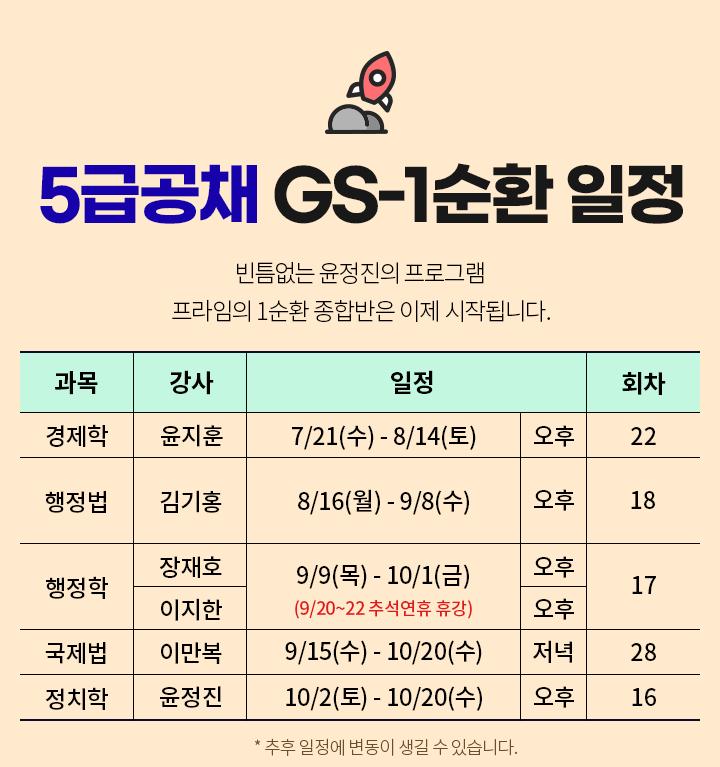 프라임 5급공채 GS1순환 일정
