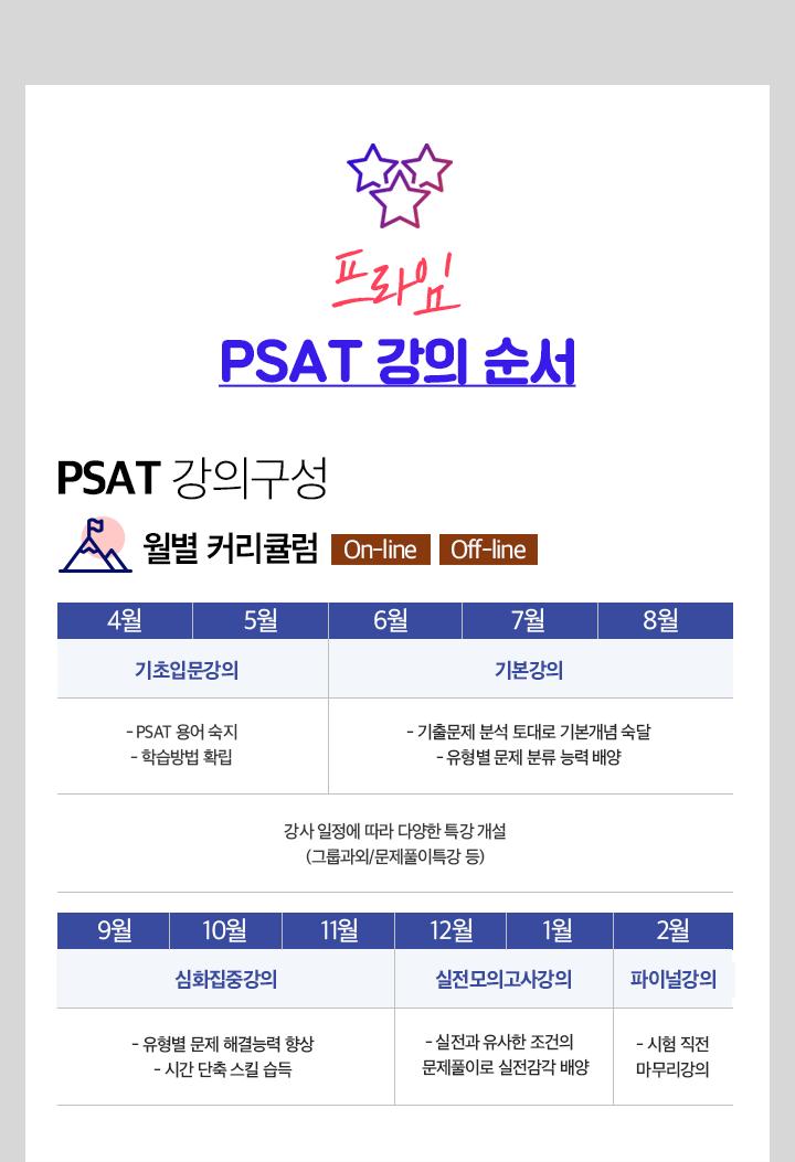 프라임 PSAT 연간강의일정